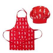Solstickan - Förkläde + Kockmössa Barn Röd