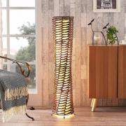 Dekorativ vardagsrums-golvlampa Joas i brunt